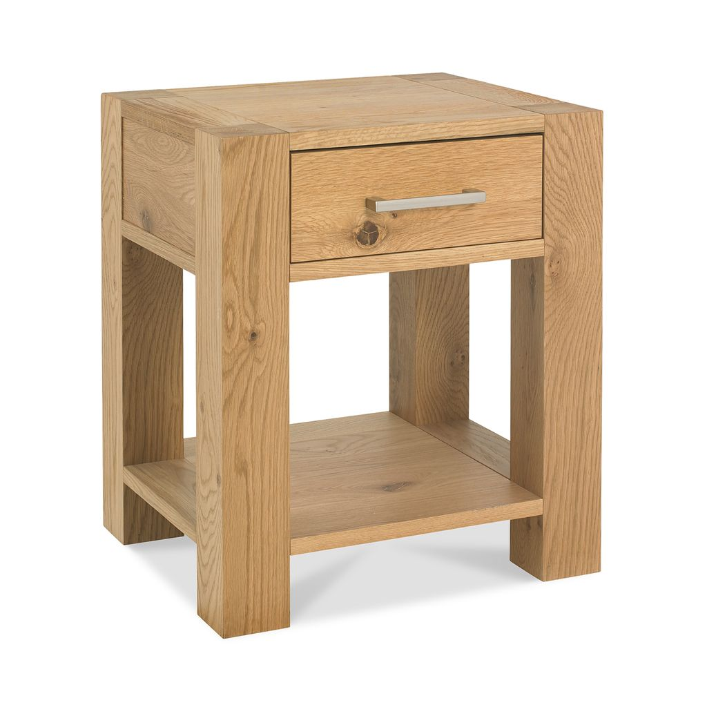 EVELEKT Console table TURIN with 1 drawers 41x48xH55cm, light oak