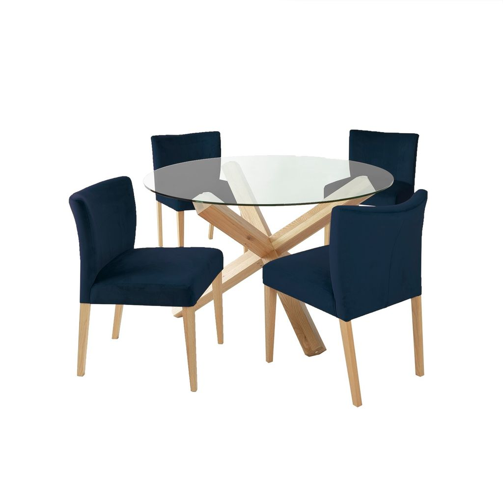 EVELEKT Dining set TURIN with 4-chairs (11326) table with glass top and oak wood legs, chairs with dark blue cover