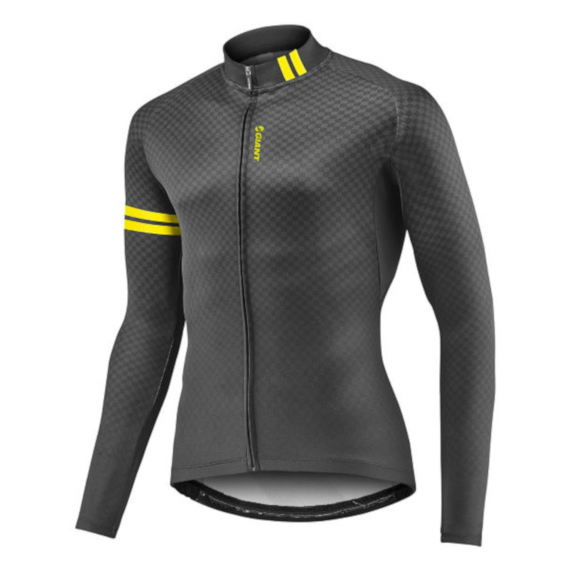 Sporta jaka GIANT Podium LS Midthermal Jersey Black Yellow
