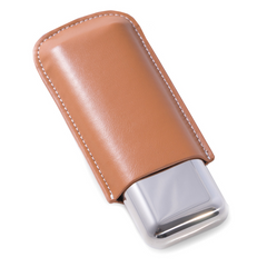 Case BEY-BERK Tan Leather and Two 52 ga. Cigar Holder