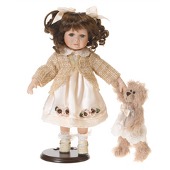 Doll RF COLLECTION Porcelain Doll with Plush Teddy 35cm