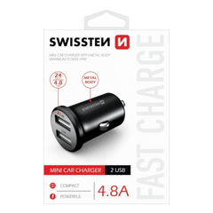 Зарядное устройство SWISSTEN Car Metal Premium 2 x USB 4.8A Black