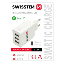 Зарядное устройство SWISSTEN Smart IC Premium USB 2x2.1A+1A/15.5W White