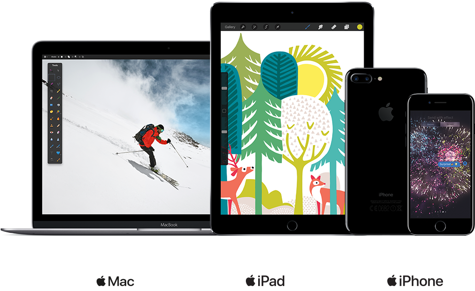 iPad Air 2, iPhone 7, MacBook Air, MacBook Pro