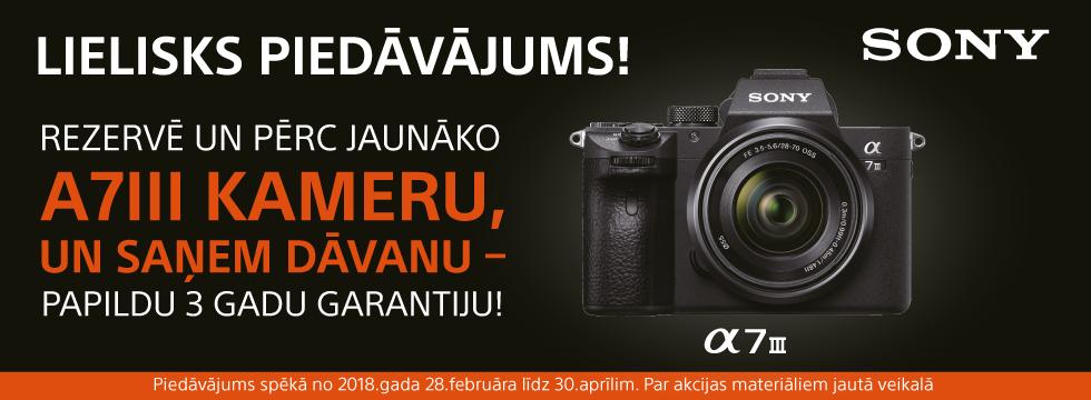 Lielisks piedāvājums - Sony A7III kamera!