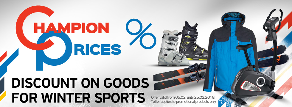 Champion prices - discount on goods for winter sports!