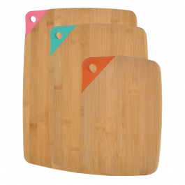 Buy Chopping Board Set GRUNWERG Set Of 3 Bamboo Cutting Boards With Colour Handle CB-1309/3BS Elkor