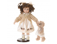 Doll RF COLLECTION Porcelain Doll with Plush Teddy 35cm Porcelain Doll with Plush Teddy 35cm