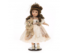 Doll RF COLLECTION Porcelain Doll With Plush Bear 48cm Porcelain Doll With Plush Bear 48cm