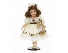 Doll RF COLLECTION Porcelain Doll With Plush Teddy 48cm Porcelain Doll With Plush Teddy 48cm