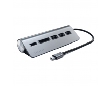 Pirkt USB koncentrātors SATECHI Type-C USB3.0 Hub+Card Reader Space Grey ST-TCHCRM Elkor