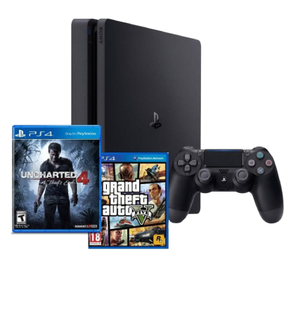 SONY Spēļu konsole (PS4 1TB Slim + Uncharted 4 + GTA 5)